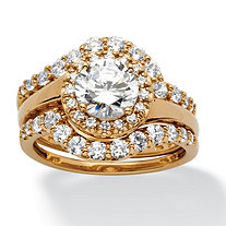 2.53 TCW Round Cubic Zirconia Halo Bridal Ring 3-Piece Set in 18k Gold over Sterling Silver
