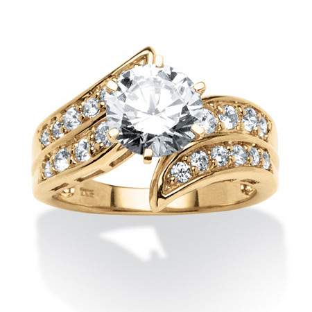 2.54 TCW Round Cubic Zirconia Bypass Ring in 18k Gold over Sterling Silver at PalmBeach Jewelry