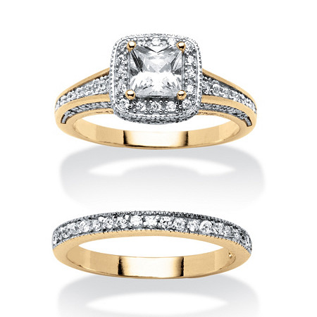 1.35 TCW Princess-Cut Cubic Zirconia Two-Piece Bridal Set 18k Gold-Plated at PalmBeach Jewelry