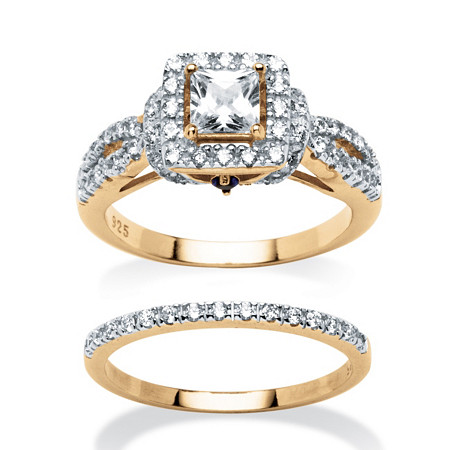 1.28 TCW Princess-Cut Cubic Zirconia Two-Piece Bridal Set in 18k Gold over Sterling Silver at PalmBeach Jewelry