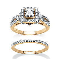 1.28 TCW Princess-Cut Cubic Zirconia Two-Piece Bridal Set in 18k Gold over Sterling Silver