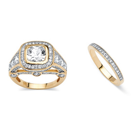 2 Piece 4.67 TCW Cubic Zirconia Bridal Ring Set 18k Gold-Plated at PalmBeach Jewelry