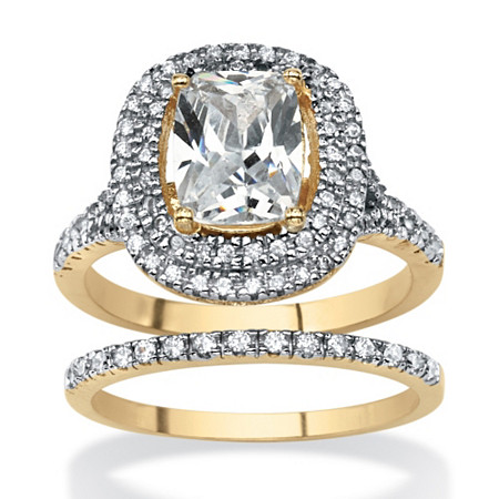Cushion-Cut Cubic Zirconia 2-Piece Double Halo Bridal Ring Set 18k Yellow Gold-Plated at PalmBeach Jewelry