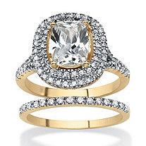 Cushion-Cut Cubic Zirconia 2-Piece Double Halo Bridal Ring Set 18k Yellow Gold-Plated