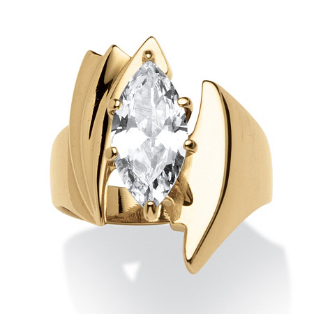 2.48 TCW Marquise-Cut Cubic Zirconia Angled Ring Gold Ion Plated at PalmBeach Jewelry