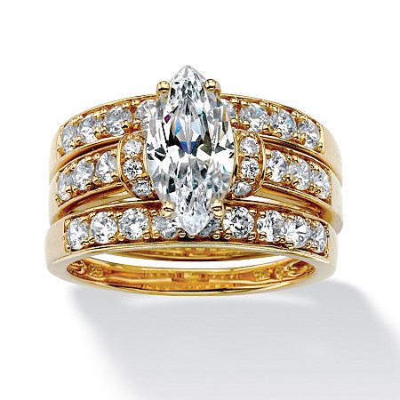 3 Piece 3.18 TCW Marquise-Cut Cubic Zirconia Bridal Ring Set in 18k Gold over Sterling Silver at PalmBeach Jewelry