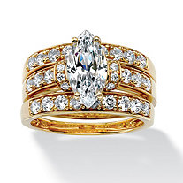 3 Piece 3.18 TCW Marquise-Cut Cubic Zirconia Bridal Ring Set in 18k Gold over Sterling Silver