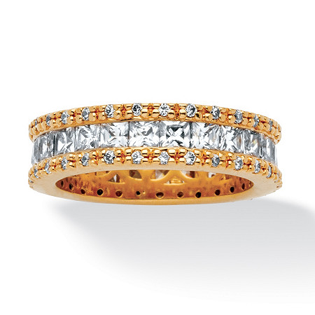2.62 TCW Princess-Cut Cubic Zirconia Eternity Ring in 18k Gold-Plated at PalmBeach Jewelry