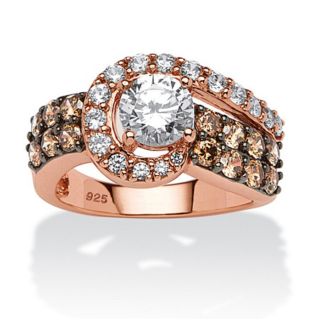 2.53 TCW Round Cubic Zirconia and Chocolate Cubic Zirconia Ring in Rose Gold over Sterling Silver at PalmBeach Jewelry