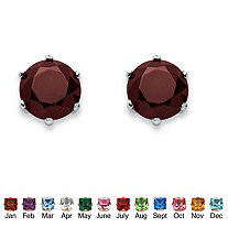 SETA JEWELRY Birthstone Stud Earrings in .925 Sterling Silver