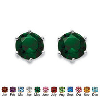 Birthstone Stud Earrings in .925 Sterling Silver