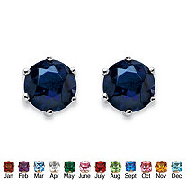 Simulated Birthstone Stud Earrings in .925 Sterling Silver