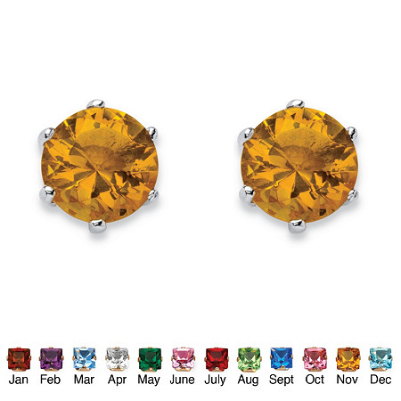Birthstone Stud Earrings in .925 Sterling Silver at PalmBeach Jewelry