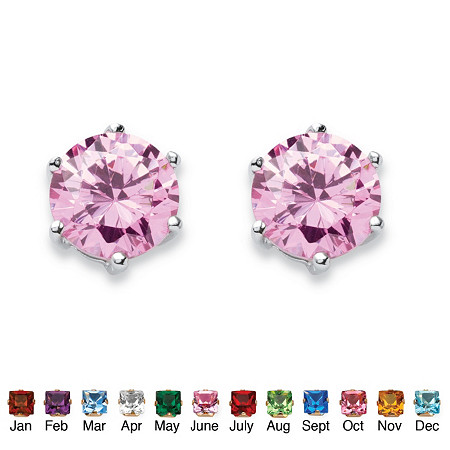Simulated Birthstone Stud Earrings in .925 Sterling Silver at PalmBeach Jewelry