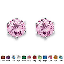 SETA JEWELRY Simulated Birthstone Stud Earrings in .925 Sterling Silver