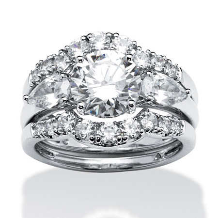 3 Piece 3.45 TCW Round Cubic Zirconia Bridal Ring Set in Platinum over Sterling Silver at PalmBeach Jewelry