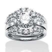 3 Piece 3.45 TCW Round Cubic Zirconia Bridal Ring Set in Platinum over Sterling Silver