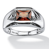 SETA JEWELRY Men's 1.51 TCW Red Cubic Zirconia Ring with Cubic Zirconia Accents in Platinum over Sterling Silver