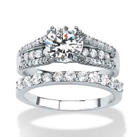 2 Piece 3.31 TCW Round Cubic Zirconia Bridal Ring Set in Platinum over Sterling Silver at PalmBeach Jewelry