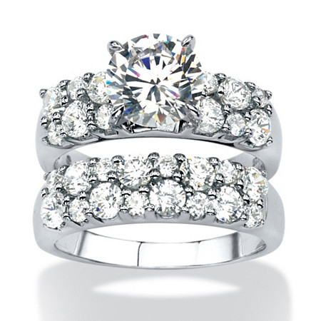 3.86 TCW Round Cubic Zirconia 2-Piece Bridal Ring Set in Platinum over Sterling Silver at PalmBeach Jewelry