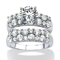 3.86 TCW Round Cubic Zirconia 2-Piece Bridal Ring Set in Platinum over Sterling Silver
