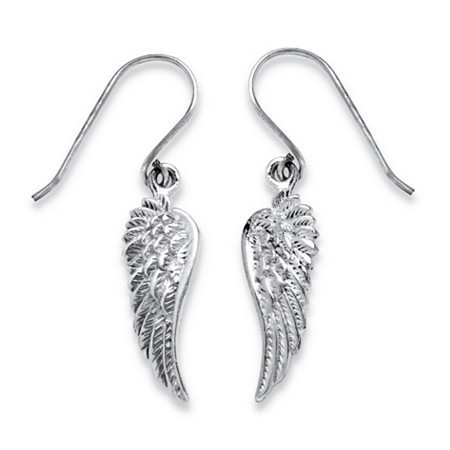 Angel Wing Drop Earrings in .925 Sterling Silver at PalmBeach Jewelry