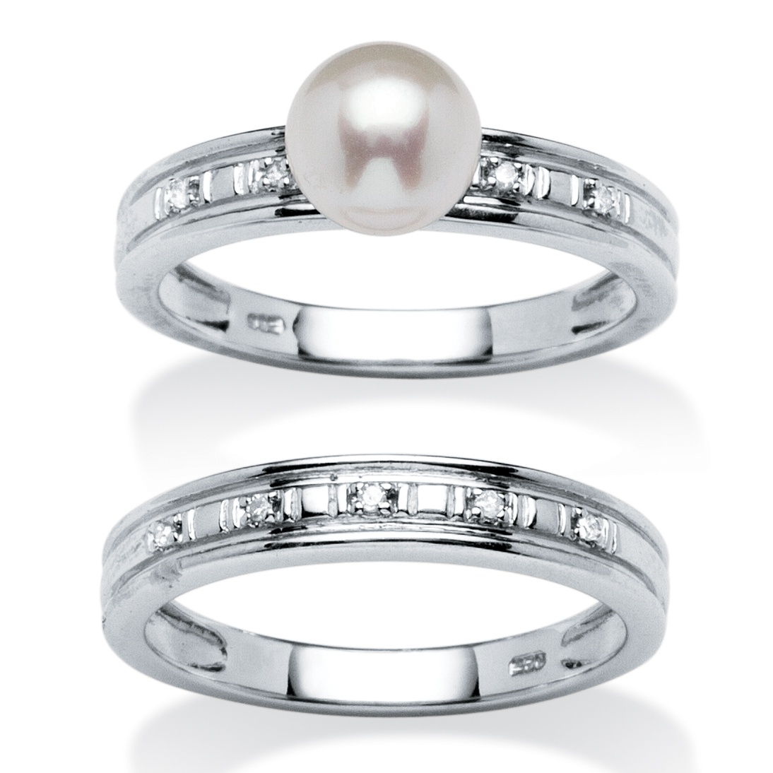 platinum wedding ring sets genuine freshwater pearl and accent platinum 6635
