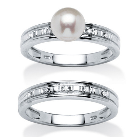 Genuine Freshwater Pearl and Diamond Accent Platinum over .925 Sterling Silver Bridal Set at PalmBeach Jewelry