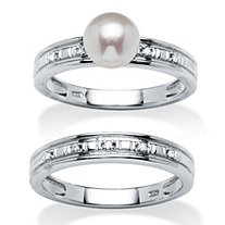 Genuine Freshwater Pearl and Diamond Accent Platinum over .925 Sterling Silver Bridal Set