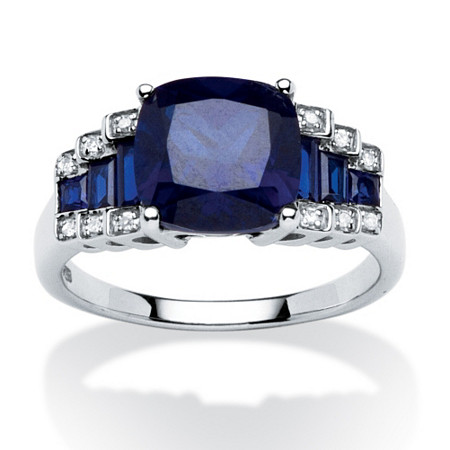 3.15 TCW Cushion-Cut Sapphire and Diamond Accent Step-Top Ring in Platinum over Sterling Silver at PalmBeach Jewelry