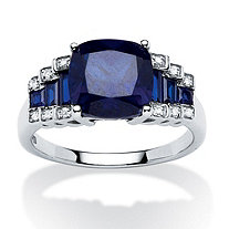 3.15 TCW Cushion-Cut Sapphire and Diamond Accent Step-Top Ring in Platinum over Sterling Silver