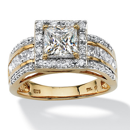 2.20 TCW Princess-Cut Cubic Zirconia Square Halo Ring in 18k Gold over Sterling Silver at PalmBeach Jewelry