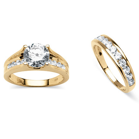 3.08 TCW Round Cubic Zirconia 2-Piece Bridal Ring Set in 18k Gold over Sterling Silver at PalmBeach Jewelry