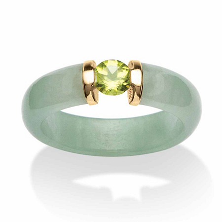 .50 TCW Round Green Peridot and Genuine Jade 10k Yellow Gold Cabochon Ring at PalmBeach Jewelry