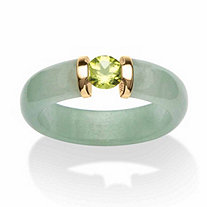 SETA JEWELRY .50 TCW Round Green Peridot and Genuine Jade 10k Yellow Gold Cabochon Ring