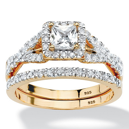 .97 TCW Princess-Cut Cubic Zirconia Two-Piece Bridal Set in 18k Gold over Sterling Silver at PalmBeach Jewelry