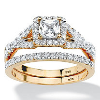 SETA JEWELRY .97 TCW Princess-Cut Cubic Zirconia Two-Piece Bridal Set in 18k Gold over Sterling Silver