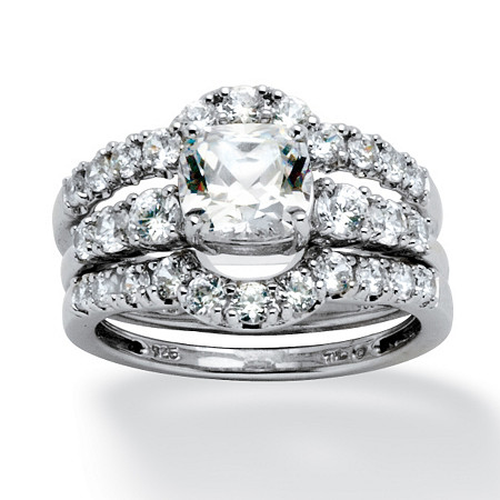 2.61 TCW Cushion-Cut Cubic Zirconia Bridal Ring 3-Piece Set in Platinum over Sterling Silver at PalmBeach Jewelry