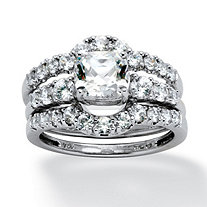 2.61 TCW Cushion-Cut Cubic Zirconia Bridal Ring 3-Piece Set in Platinum over Sterling Silver