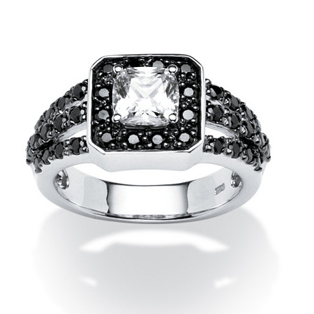 1.72 TCW Black and White Cubic Zirconia Ring in Platinum over Sterling Silver at PalmBeach Jewelry