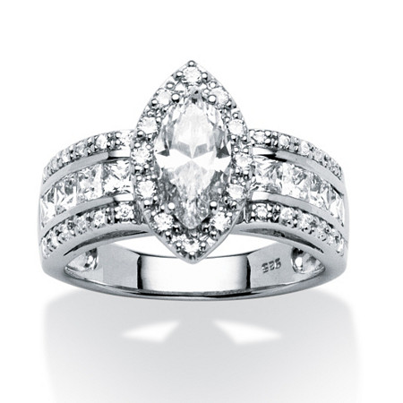 2.02 TCW Marquise-Cut Cubic Zirconia Ring in Platinum over Sterling Silver at PalmBeach Jewelry