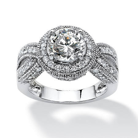 2.85 TCW Round Cubic Zirconia Halo Crossover Ring in Platinum over Sterling Silver at PalmBeach Jewelry