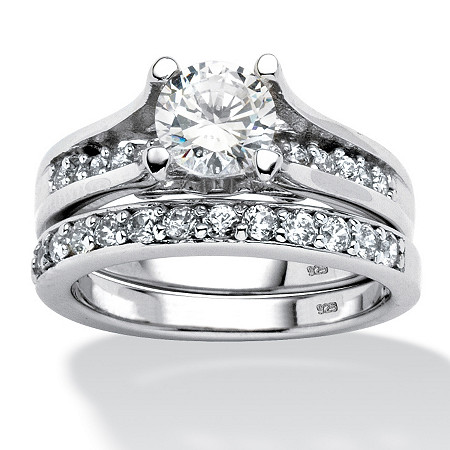 2.10 TCW Round Cubic Zirconia Two-Piece Bridal Set in Platinum over Sterling Silver at PalmBeach Jewelry