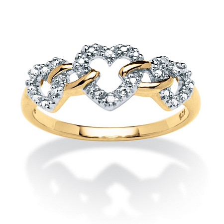 Diamond Accent Triple Heart Link Ring in 18k Gold over Sterling Silver at PalmBeach Jewelry