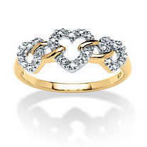 Diamond Accent Triple Heart Link Ring in 18k Gold over Sterling Silver