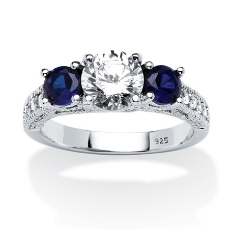 Cubic Zirconia and Simulated Blue Sapphire 3-Stone Bridal Ring 2.47 TCW in Sterling Silver at PalmBeach Jewelry