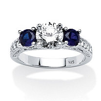 Cubic Zirconia and Simulated Blue Sapphire 3-Stone Bridal Ring 2.47 TCW in Sterling Silver