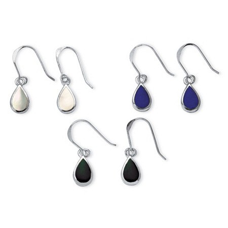 Mother-of-Pearl, Onyx and Lapis Three-Pair Set of Pear Drop Earrings in .925 Sterling Silver at PalmBeach Jewelry