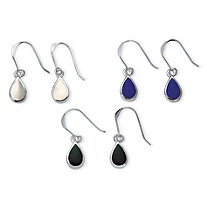 Mother-of-Pearl, Onyx and Lapis Three-Pair Set of Pear Drop Earrings in .925 Sterling Silver