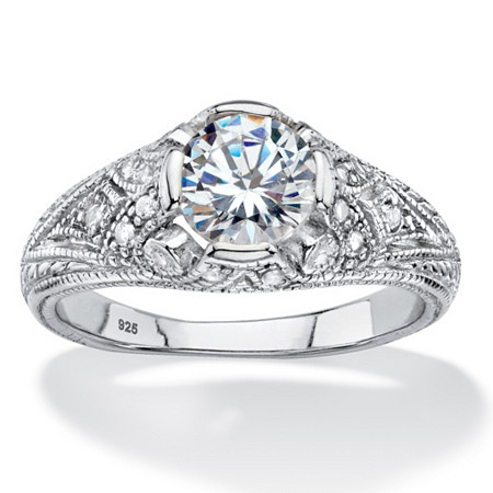 1.75 TCW Round Cubic Zirconia Vintage Style Ring in Sterling Silver at PalmBeach Jewelry